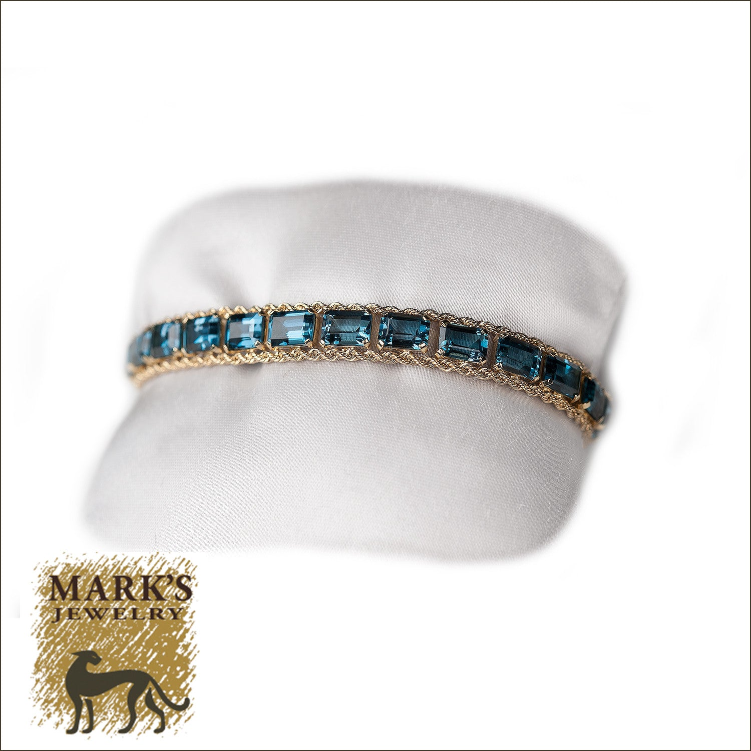 14K Yellow Gold London Blue Topaz Rope Bracelet