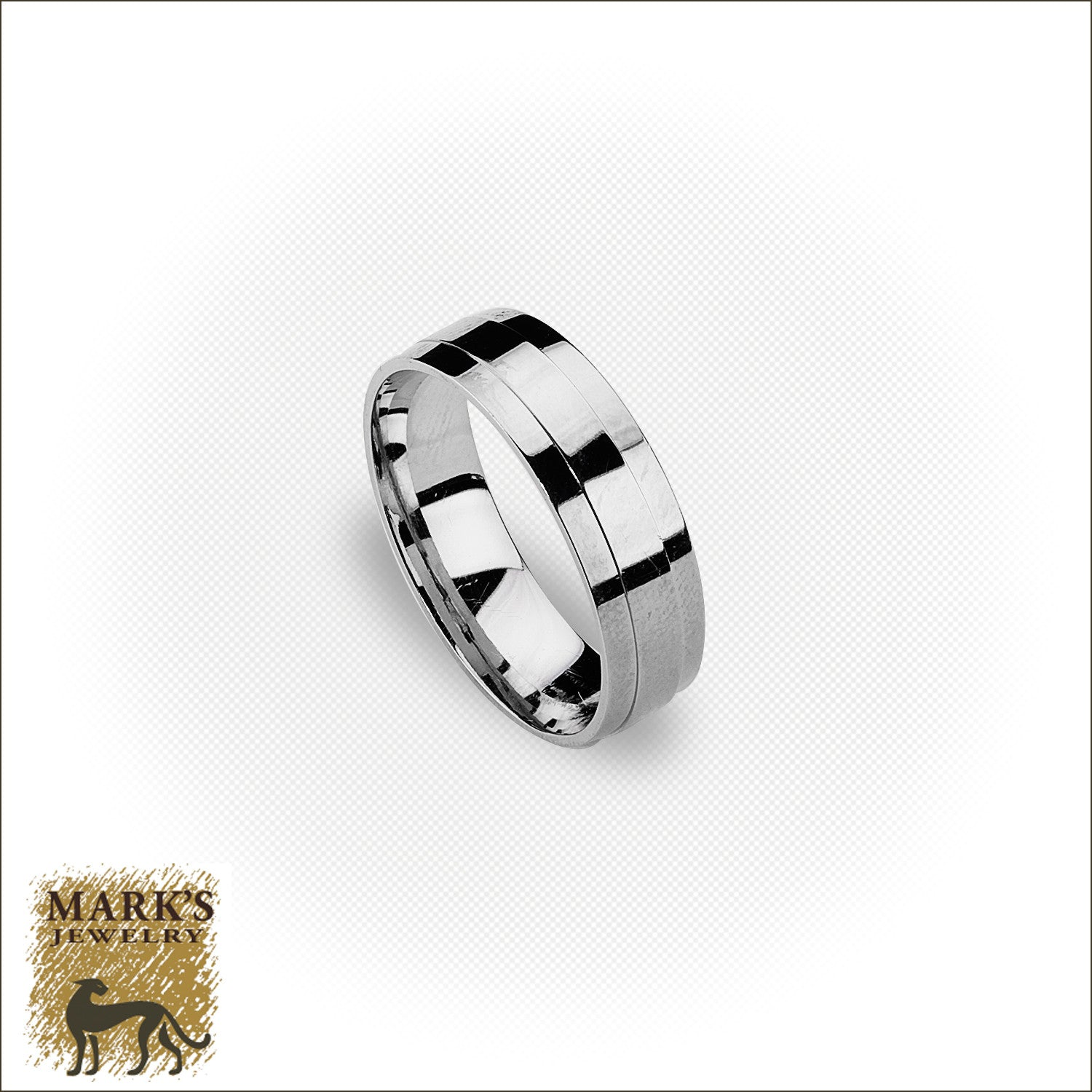 "14K White Gold 6 mm ""Novell"" Band, Marks Jewelry"