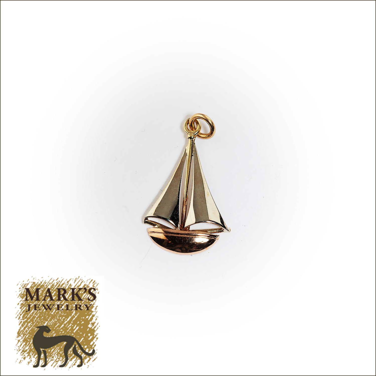 14K Yellow, White, and Rose Gold Sailboat Charm
