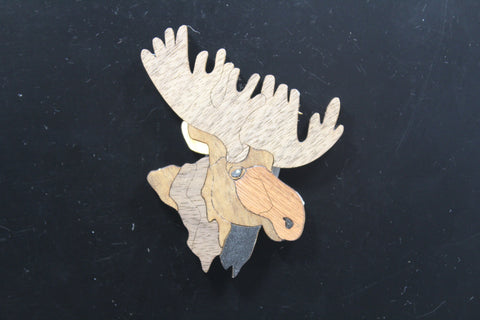 Moose Marquetry Magnet