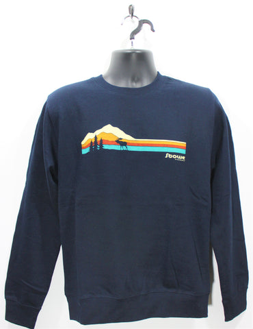 Ridge Stripe Moose Crew SS Navy