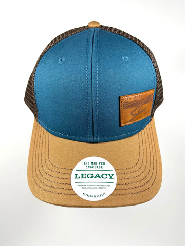 Stowe Leather Patch Trucker Hat Blue/Camel