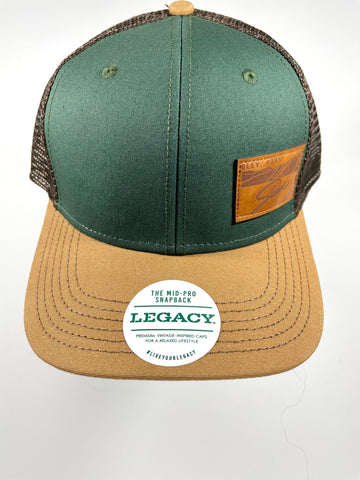 Stowe Leather Patch Trucker Hat Green/Camel