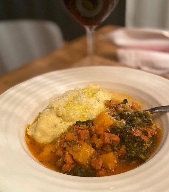 Suffolk Chorizo Ragout with Soft Sage Polenta