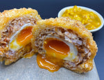 Elder Street café Suffolk Chorizo scotch egg and piccalilli