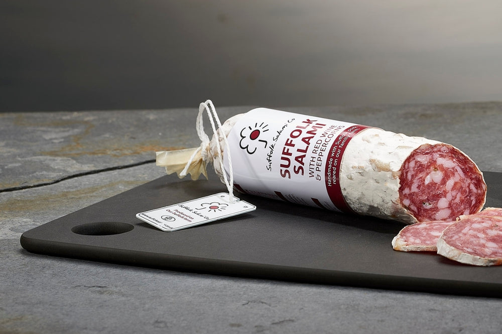 Small Suffolk Salami with Red Wine & Cracked Black Pepper