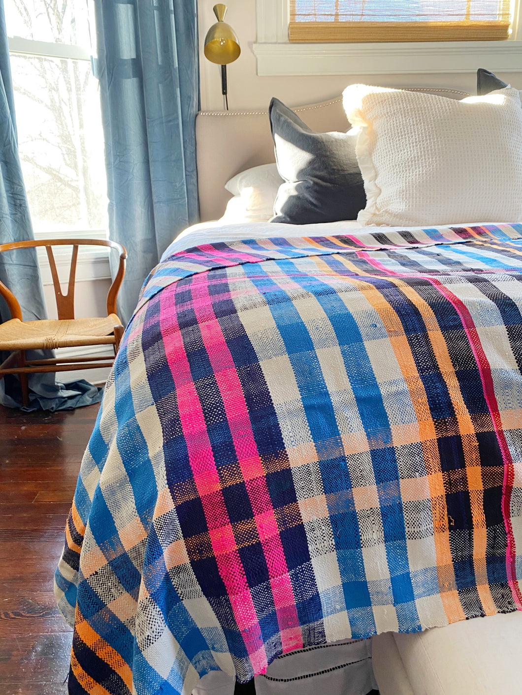 Perfect plaid vintage Berber Moroccan blanket.