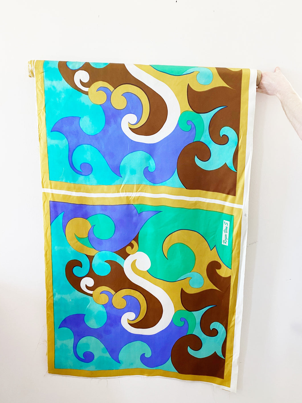 Vibrant blue MCM silk scarf panel by Roger Van S