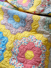 Load image into Gallery viewer, Antique Hexi flower quilt 1932