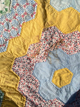 Load image into Gallery viewer, Antique Hexi flower quilt - 1932