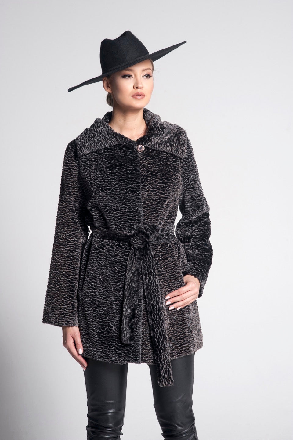 Agathe Astragan Faux Fur Coat