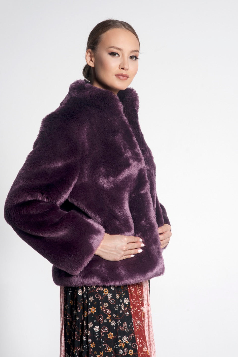 Violette Mid Length Faux Fur Jacket