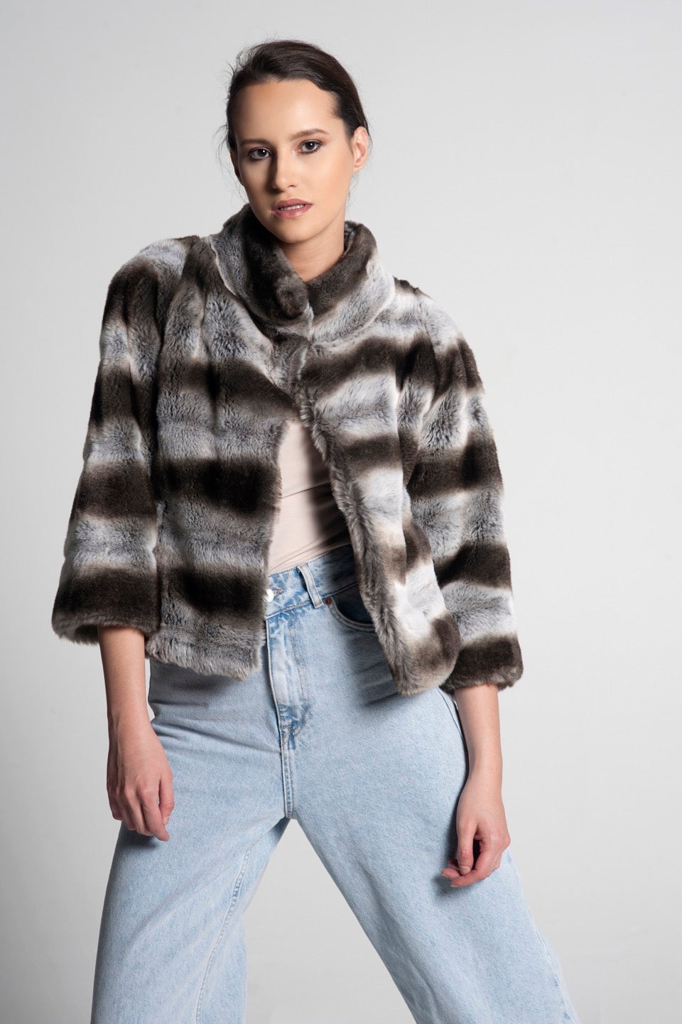 Monica Cropped Faux Fur Jacket