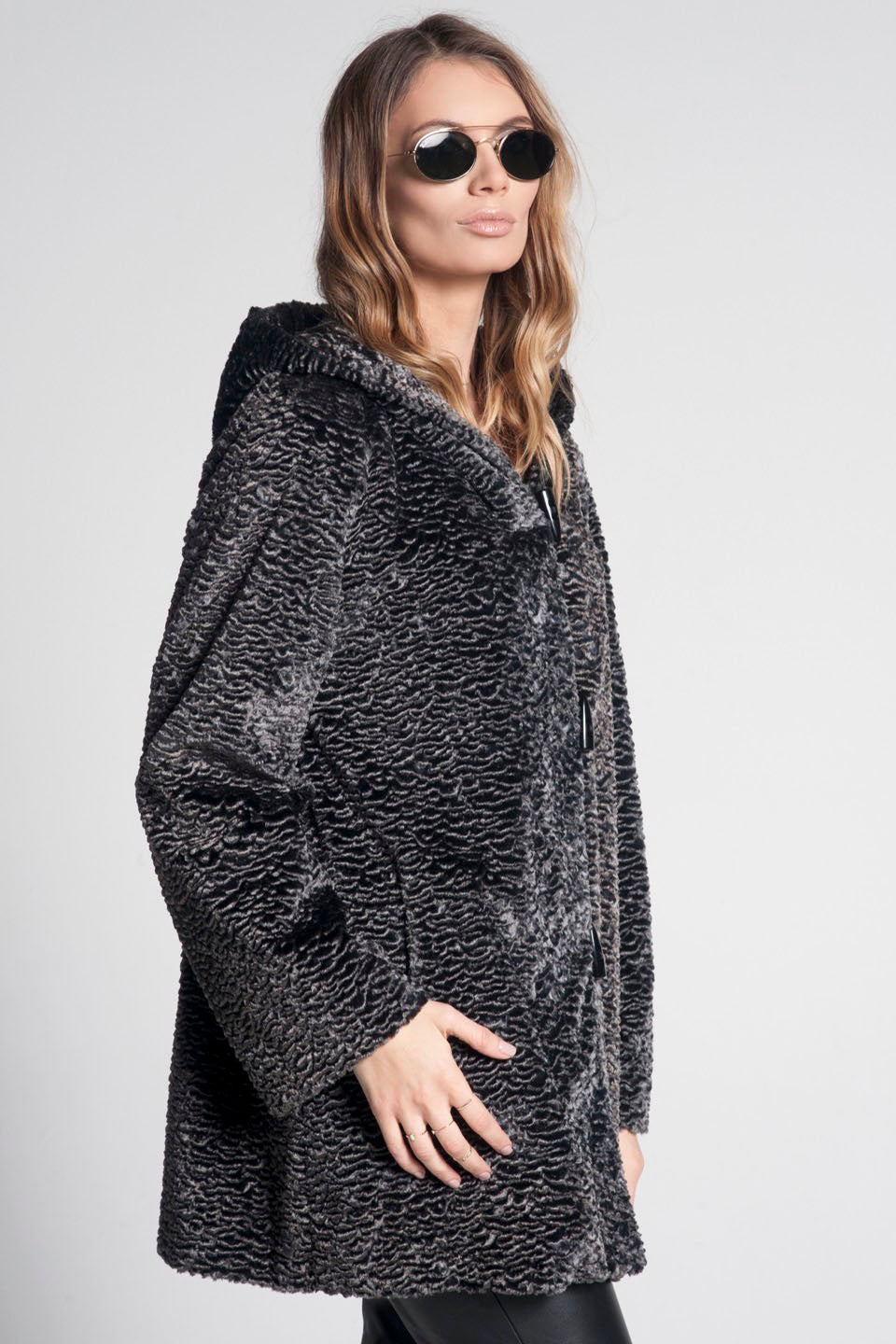 Alice Astragan Hooded Faux Fur Coat