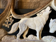 "Load image into Gallery viewer, ""Rallying Up"" - Carved Moose Antler - Wolf Pair"