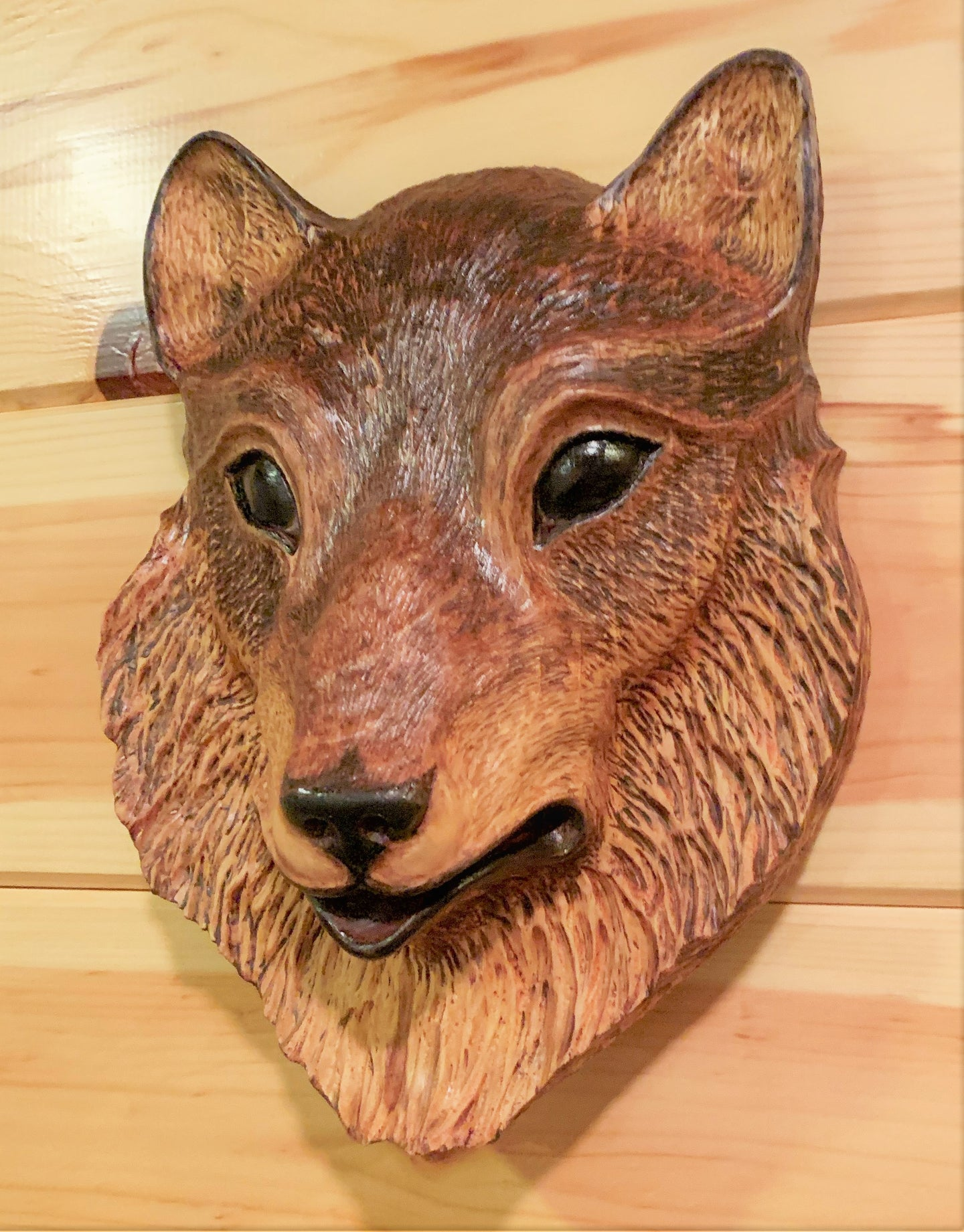 Wolf Impression Wood Carving