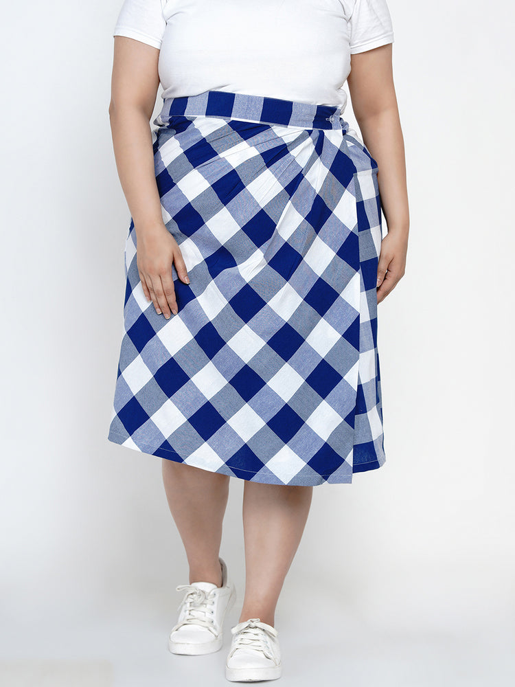 Fabnest women Wrap around skirt in blue and white bold checks-skirt-Fabnest