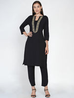 Black flex straight kurta with jacquard lace at neck-Kurtas-Fabnest
