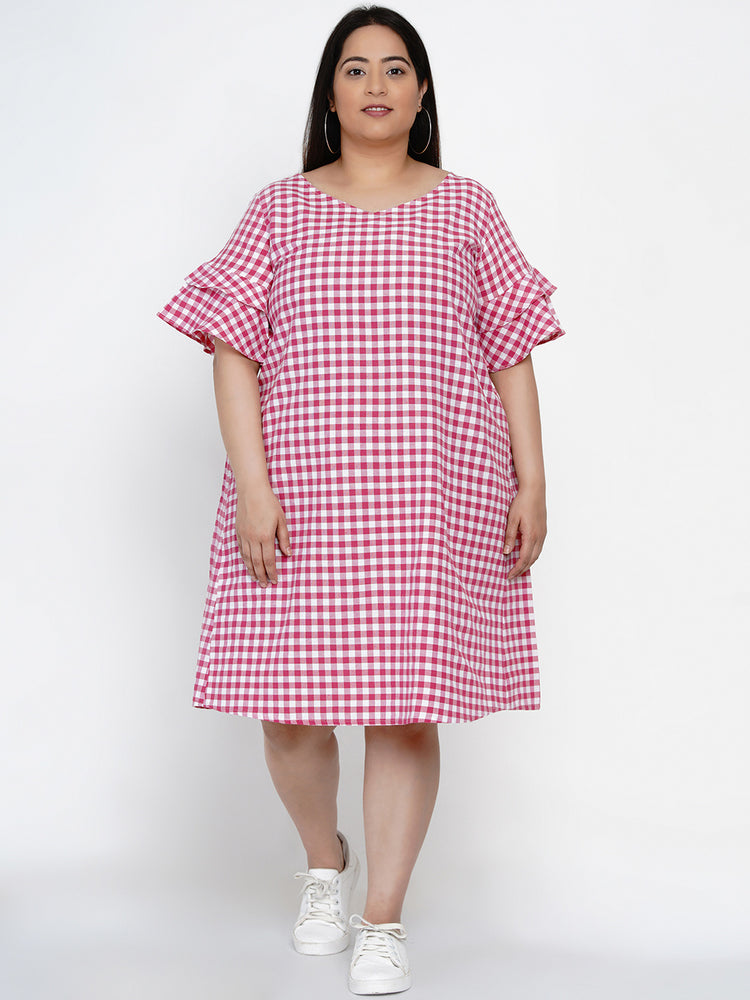 Fabnest Women Handloom cotton pink and white check shift dress with flounce short sleeves-Dress-Fabnest