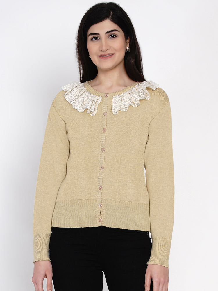 Fabnest women winter beige cardigan with lace-Cardigan-Fabnest