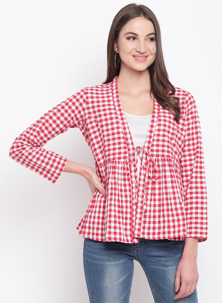Fabnest womens handloom cotton red and white check peplum short shrug-Cape-Fabnest