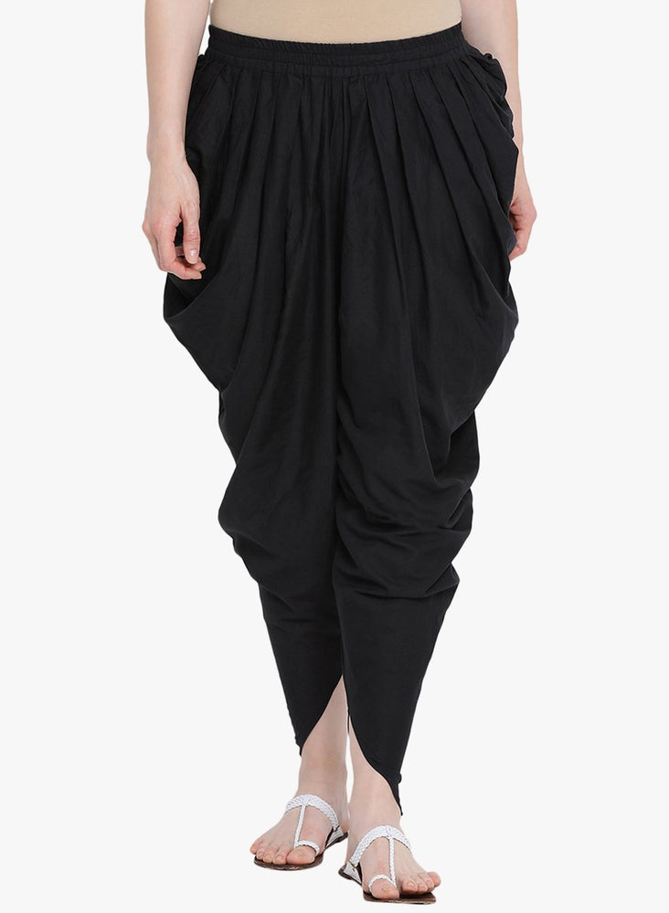 Fabnest womens cotton salwar in solid black-Salwar-Fabnest