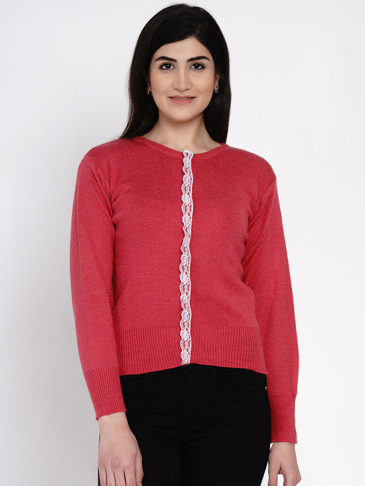 Fabnest women winter pink cardigan with lace-Cardigan-Fabnest