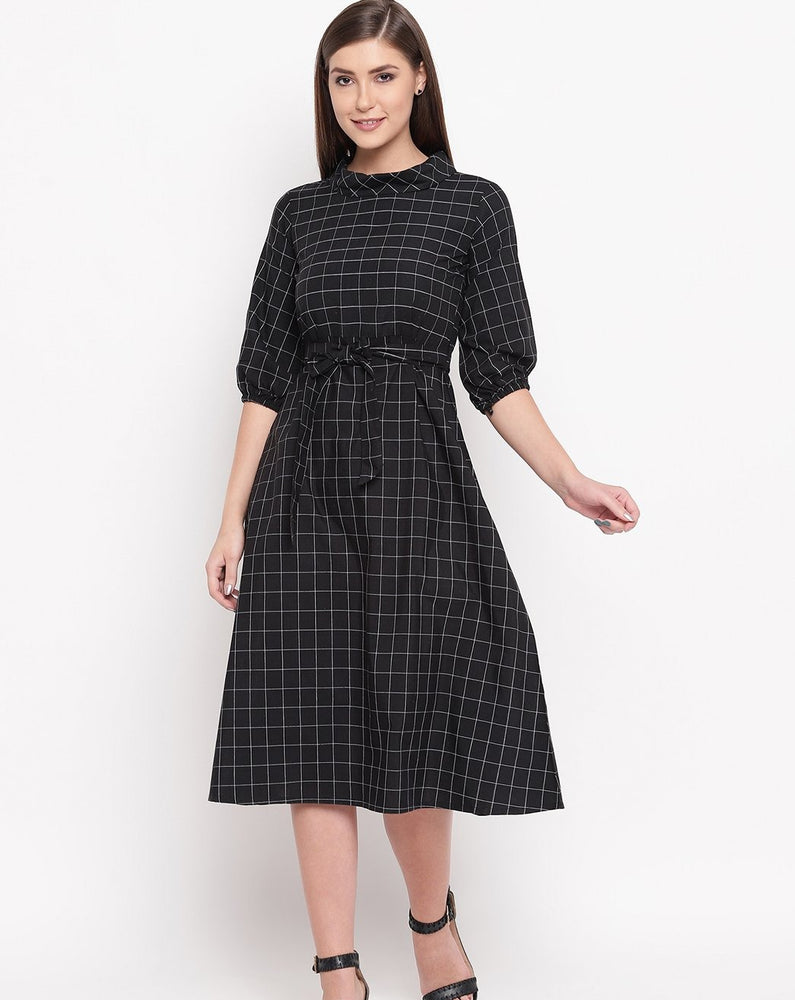 Fabnest womens black window pane a line dress with folded round collar-DRESS-Fabnest