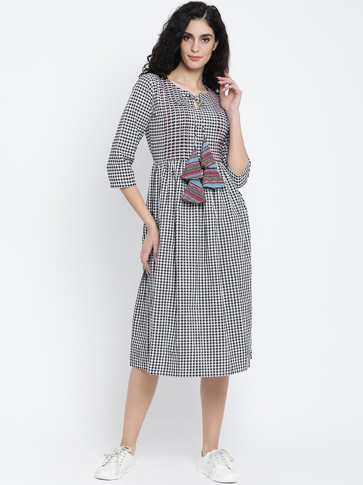 Fabnest Black and White Check Cotton Women Dress With Pintucks, Top Stitch and Colourful Tassles-Dress-Fabnest