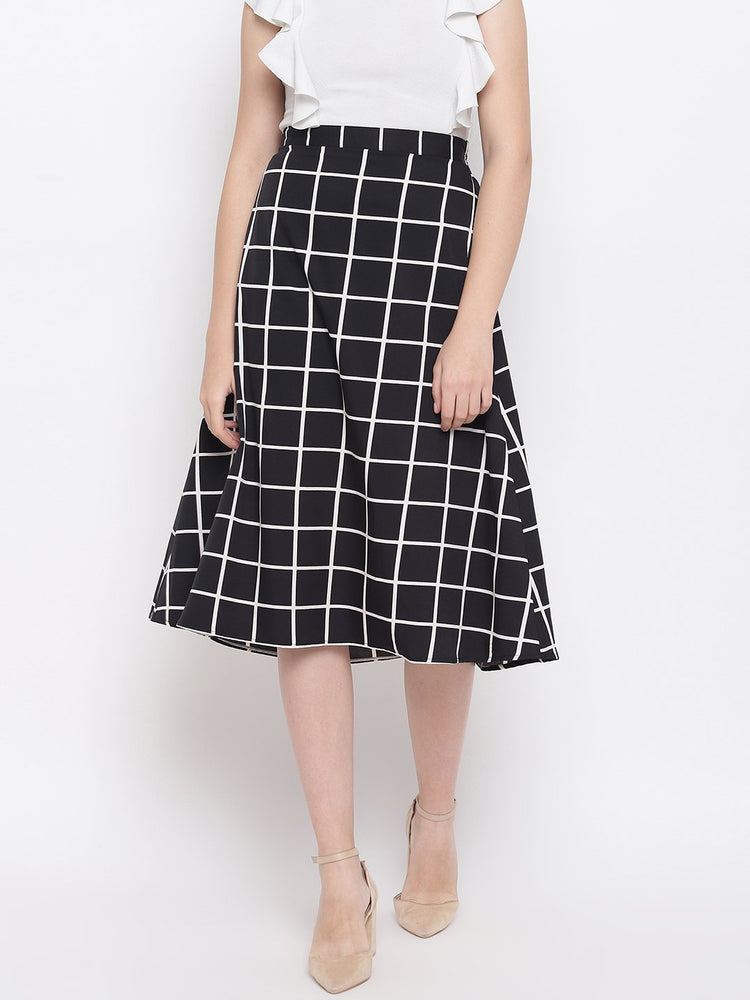 Fabnest womens crepe black and white windowpane a line skirt-skirt-Fabnest