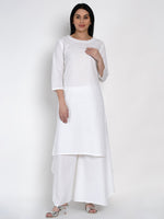 Fabnest Womens Cotton White Kurta And White Asymmetrical Pant Set-Kurta Set-Fabnest