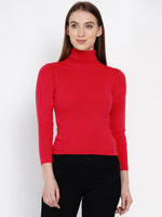 Women Winter Acrylic High Neck Deep Pink Melange Sweater-Sweaters-Fabnest