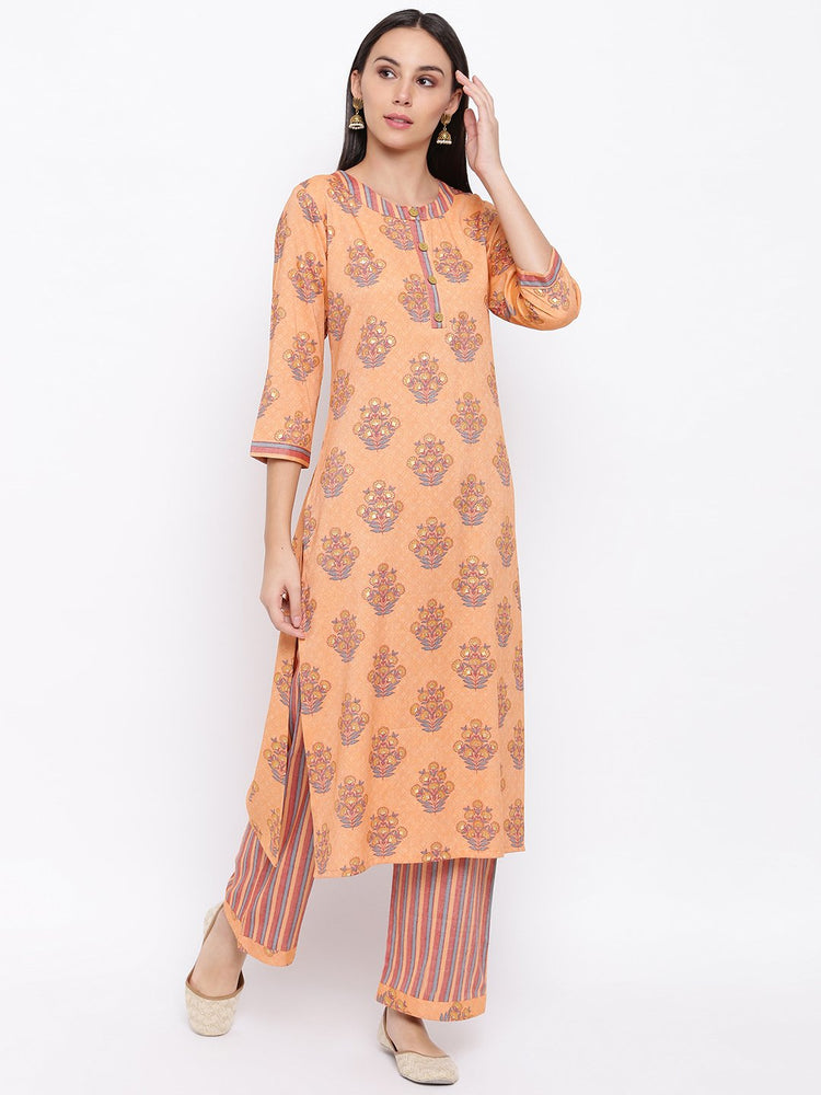 Fabnest womens rayon light orange printed pant and kurta set with round neck and wooden buttons with stripe pants.-Kurta Set-Fabnest