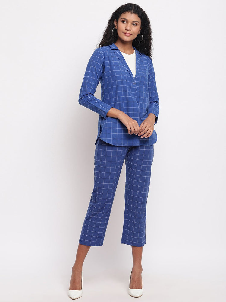 Fabnest Women's Handloom Cotton Blue Window Pane Check Jacket-Jacket-Fabnest