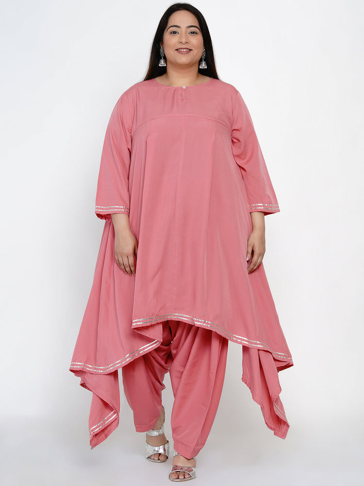 Fabnest Women Pink asymmetrical kurta and salwar set with gota work-Kurta Set-Fabnest