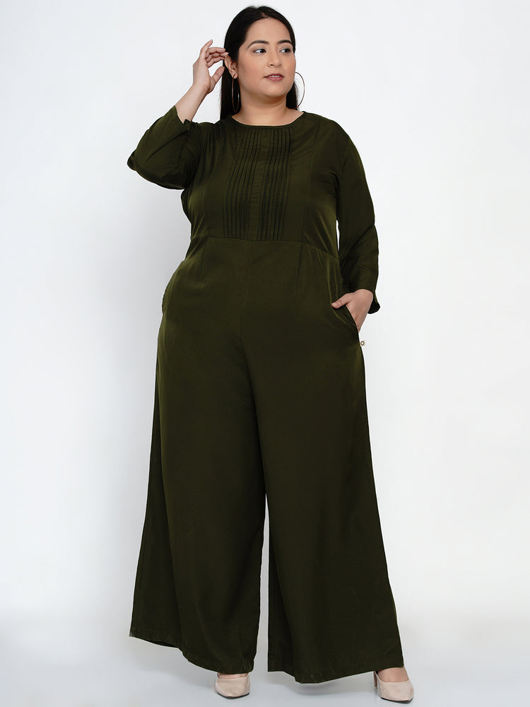 Fabnest Women Khaki jumpsuit in crepe with pintucks-Jumpsuit-Fabnest