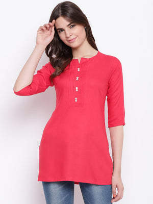 Load image into Gallery viewer, Fabnest womens dark pink front pintucks rayon short kurta/tunic-Tunic/Kurtis-Fabnest