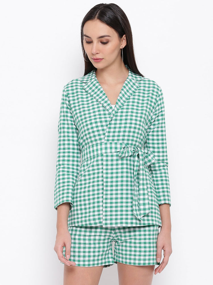 Fabnest Womens Cotton Handloom green and white gingham check tie up shirt/ jacket-Check Jacket-Fabnest