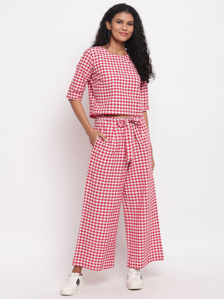 Fabnest womens handloom cotton red and white check cropped top and palazzo pant set-Co-ords-Fabnest