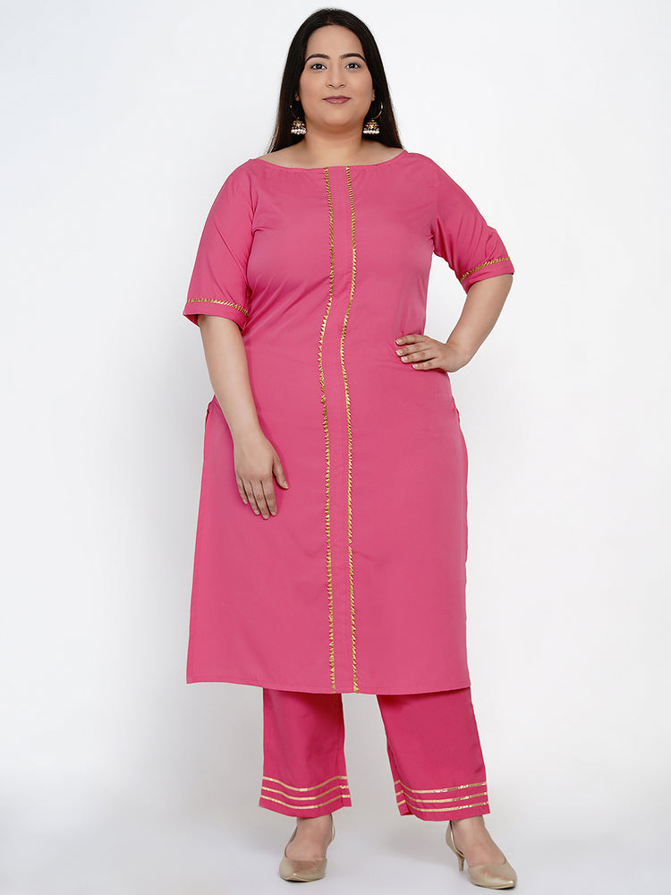 Fabnest Women Pink crepe straight kurta and pant set with gota inserts-Kurta Set-Fabnest