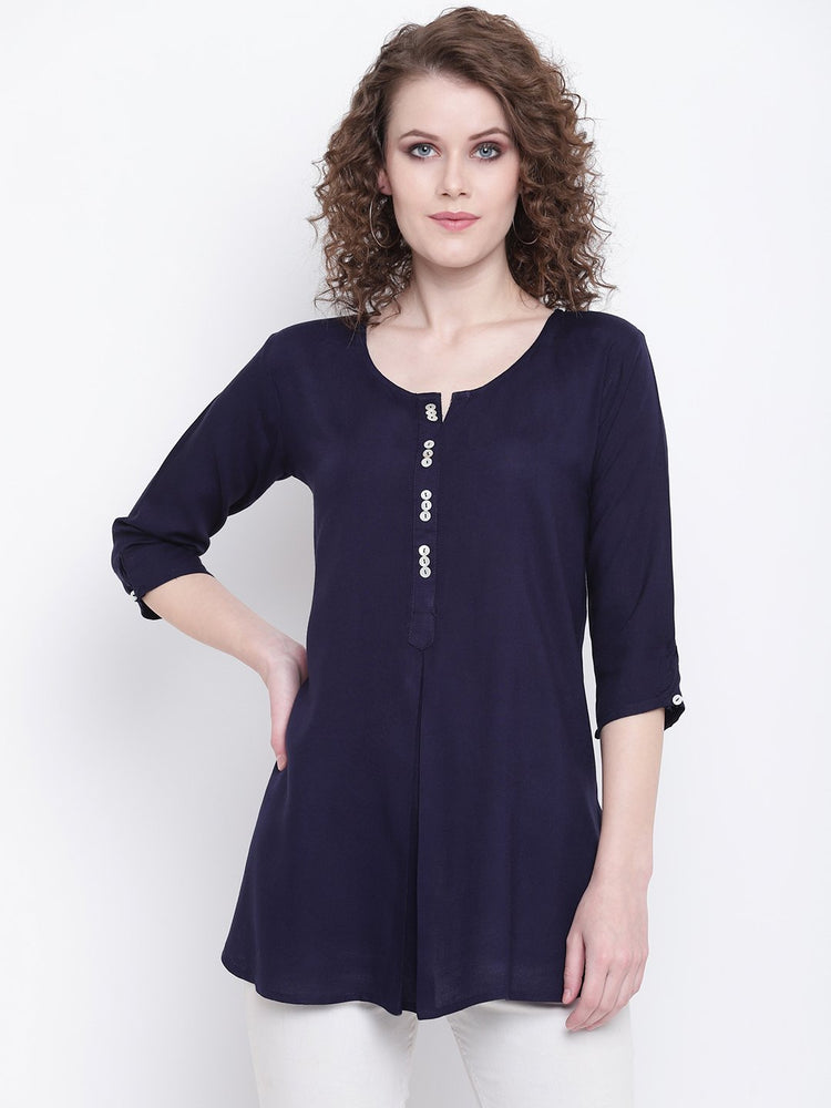 Load image into Gallery viewer, Fabnest womens navy rayon inverted pleat short kurta/tunic-Tunic-Fabnest