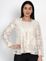 Fabnest Womens Off White Lace Top With Front Tie And Cotton Lining-Top-Fabnest