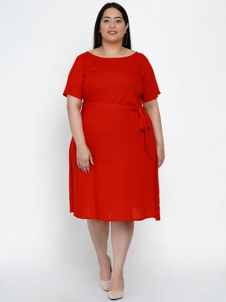 Fabnest Women Red fit and flare knee length dress with belt at waist-Dress-Fabnest
