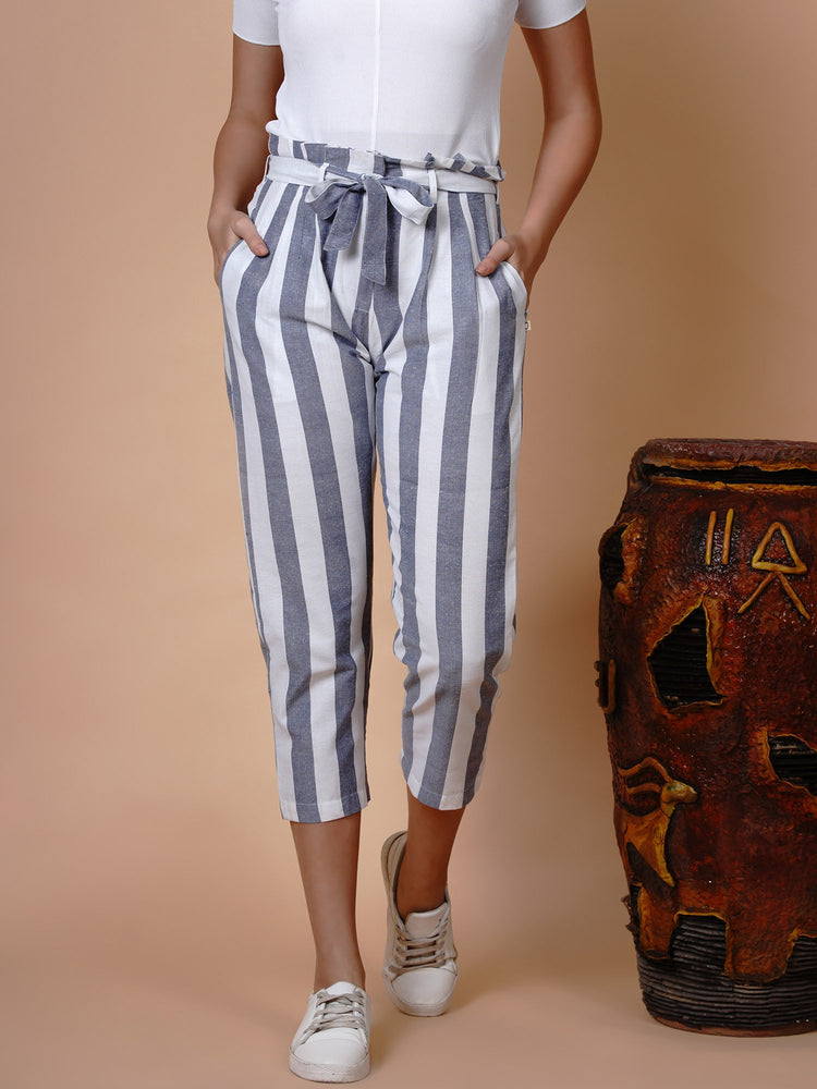 White and blue high waist belted pant with matching mask and hairband-Pant-Fabnest