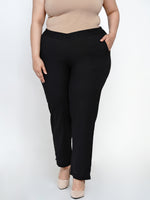 Fabnest Women Cotton flex black cigarette pants-Cigarette pants-Fabnest