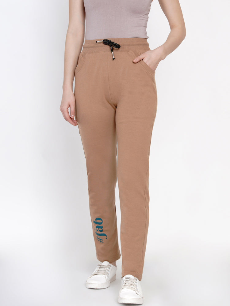 Women Loop Knit Beige Solid Track Pant-Track Pants-Fabnest