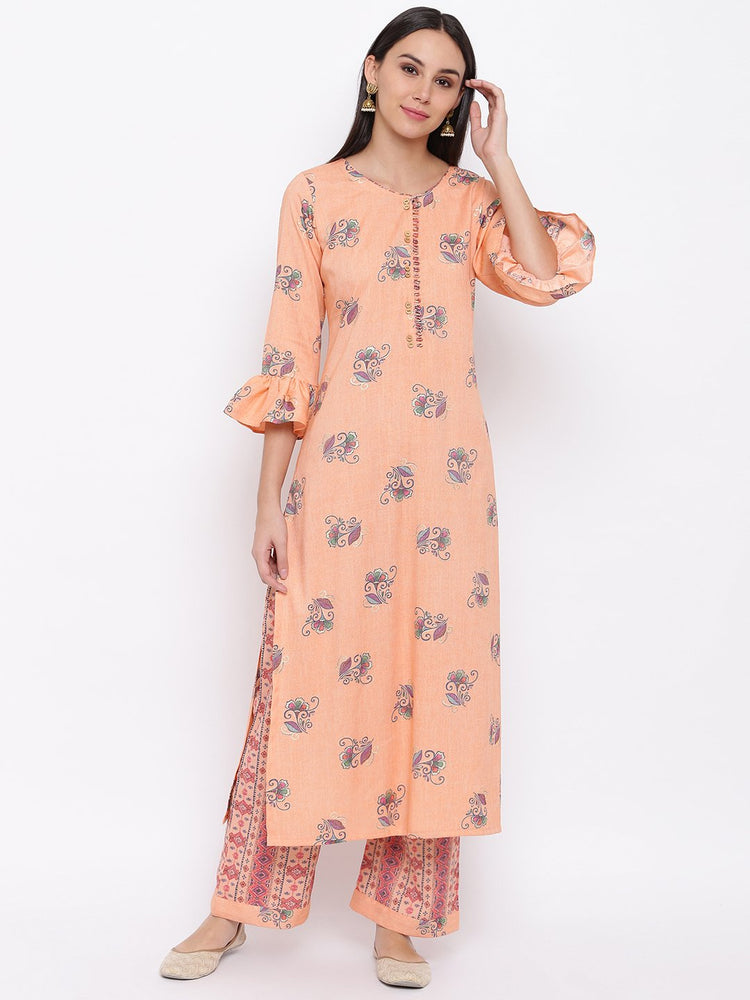 Fabnest womens rayon peach printed kurta and pant set with flounce sleeve and button detailing at the neck-Kurta Set-Fabnest