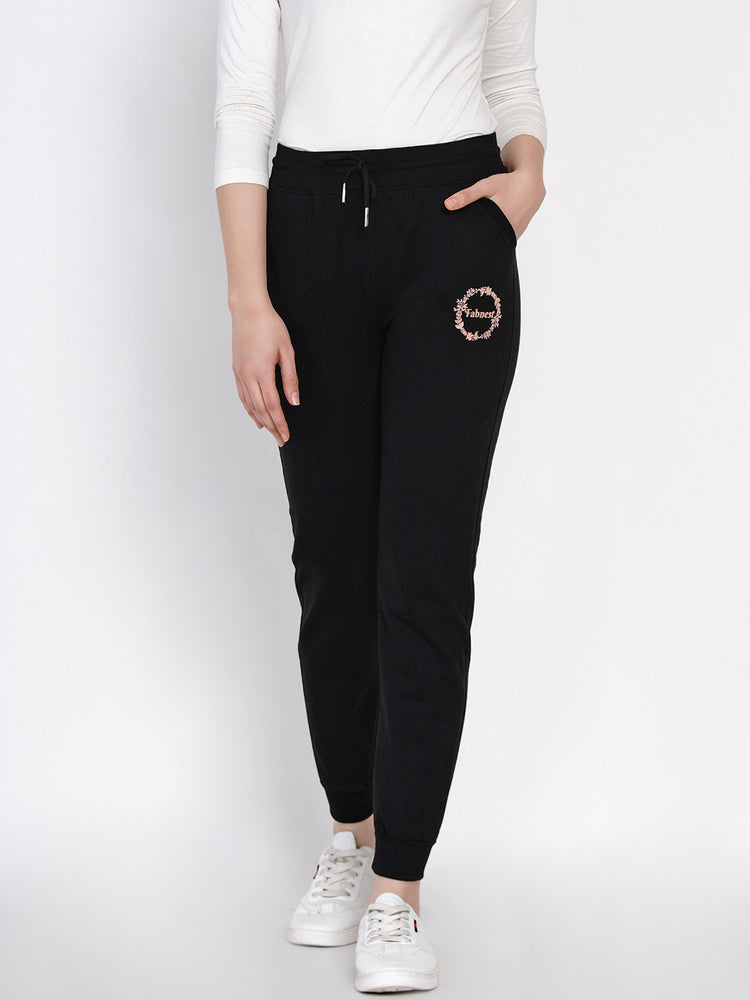 Winter Solid Black Printed Fleece Joggers-Jogger pant-Fabnest