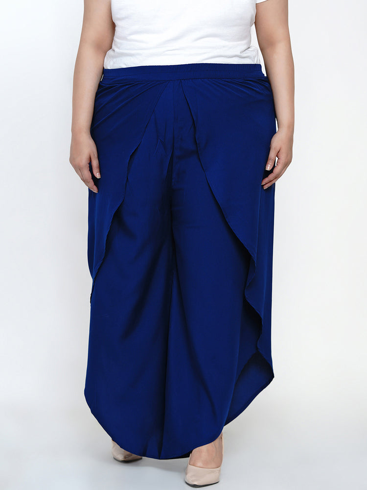 Fabnest women crepe blue overlapping layered pants-Pant-Fabnest