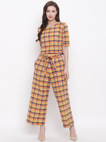 Fabnest womens handloom cotton yellow orange blue multi cropped top and pant set-Jumpsuit-Fabnest